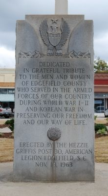 Edgefield County Veterans Memorial Marker - Front image. Click for full size.