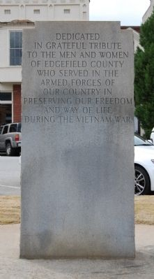 Edgefield County Veterans Memorial Marker - Reverse image. Click for full size.