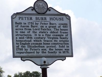 Peter Burr House Marker image. Click for full size.