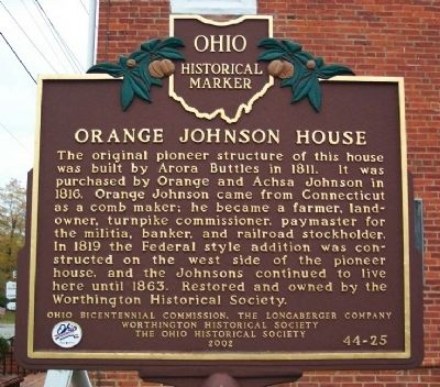 Orange Johnson House Marker image. Click for full size.