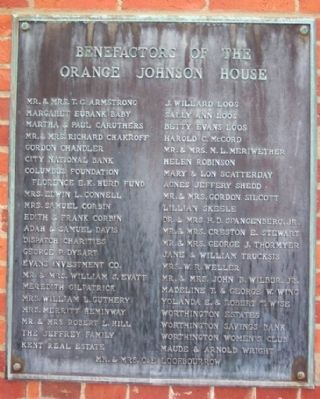 Orange Johnson House Benefactors Marker image. Click for full size.