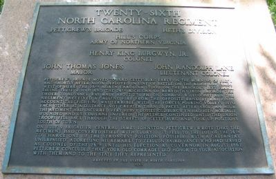 Twenthy-Sixth North Carolina Regiment Monument image. Click for full size.