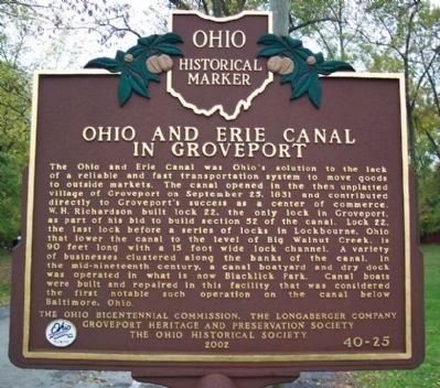 Ohio and Erie Canal in Groveport Marker image. Click for full size.