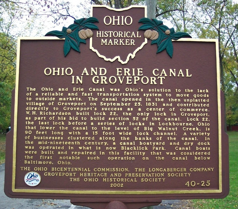 Ohio and Erie Canal in Groveport Marker