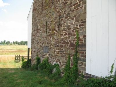 Marker on the North Side of McPherson Barn image. Click for full size.