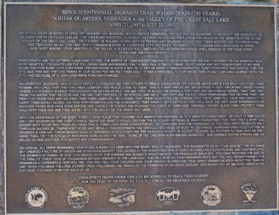 Sesquicentennial Mormon Trail Wagontrain Marker image. Click for full size.