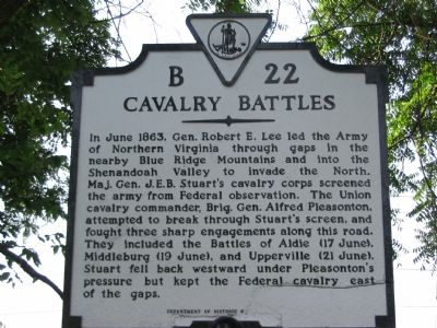 Cavalry Battles Marker image. Click for full size.
