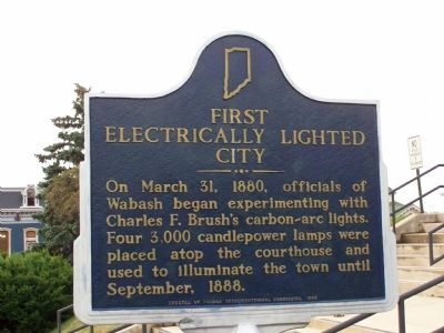 First Electrically Lighted City Marker image. Click for full size.