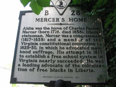 Mercer's Home Marker image. Click for full size.