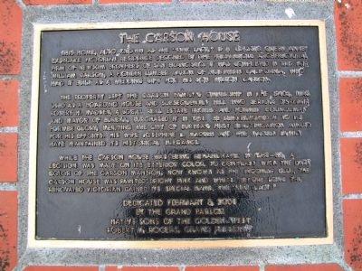 The Carson House Marker image. Click for full size.