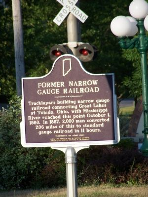 Former Narrow Gauge Railroad Marker (side one) image. Click for full size.