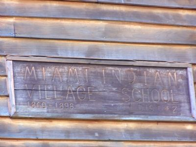 Name and date on the Indian school house still on the site. image. Click for full size.