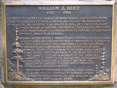 William Z. Hegy Marker image. Click for full size.
