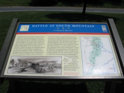 Battle at South Mountain – A Natural Barrier Marker image. Click for full size.