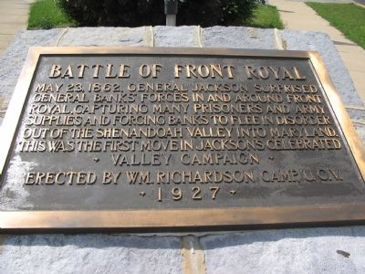 Battle of Front Royal Marker image. Click for full size.