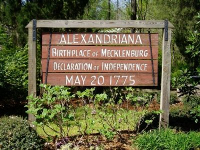 Alexandriana, Site of the Signing of the Mecklenburg Declaration of Independence image. Click for full size.