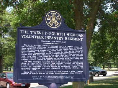 Back of the Iron Brigade Marker (The Twenty-Fourth Michigan Volunteer Infantry Regiment) image. Click for full size.