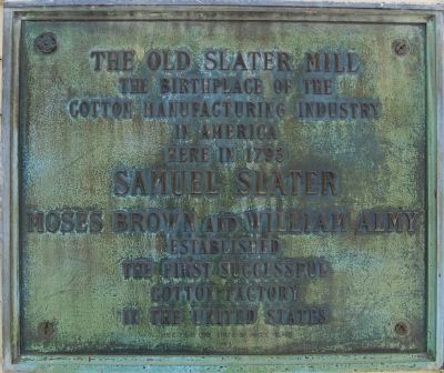 The Old Slater Mill Marker image. Click for full size.
