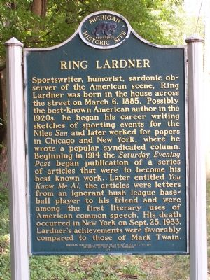 Ring Lardner Marker image. Click for full size.