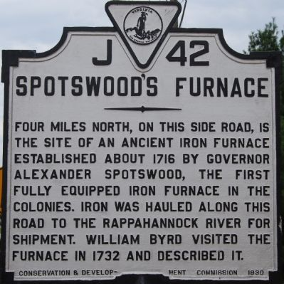 Spotswood's Furnace Marker image. Click for full size.