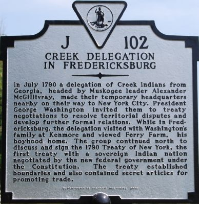 Creek Delegation in Fredericksburg Marker image. Click for full size.