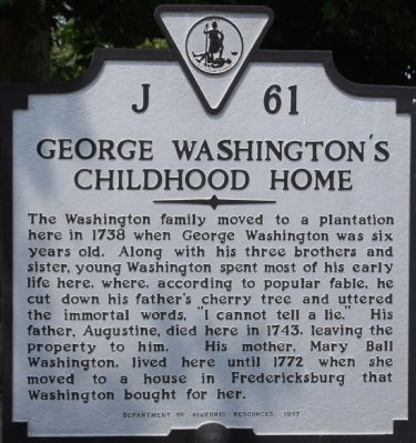 George Washington's Childhood Home Marker image. Click for full size.