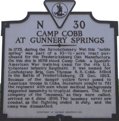 Camp Cobb at Gunnery Springs Marker image. Click for full size.