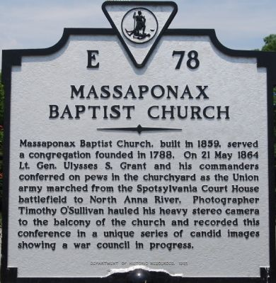 Massaponax Baptist Church Marker image. Click for full size.