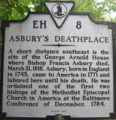 Asbury's Deathplace Marker image. Click for full size.
