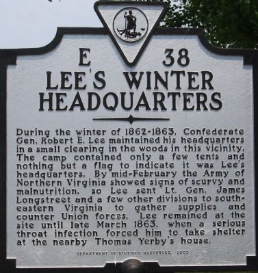 Lee's Winter Headquarters Marker image. Click for full size.