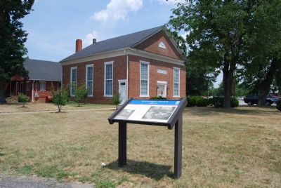 Marker in front of church image. Click for full size.