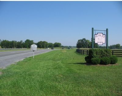 Audley Marker Next to Farm Sign image. Click for full size.