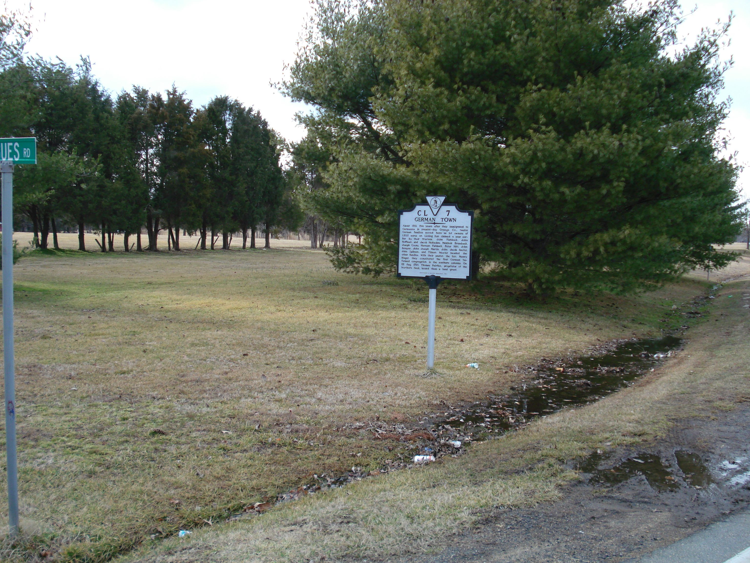 Wider view of the German Town Marker