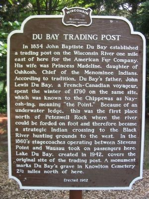 Du Bay Trading Post Marker image. Click for full size.