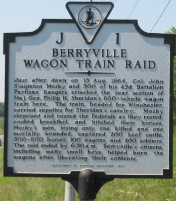 Berryville Wagon Train Raid Marker image. Click for full size.