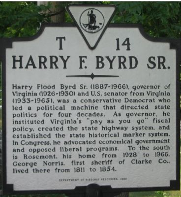 Harry F. Byrd Sr. Marker image. Click for full size.