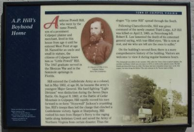 A.P. Hill's Boyhood Home Marker image. Click for full size.