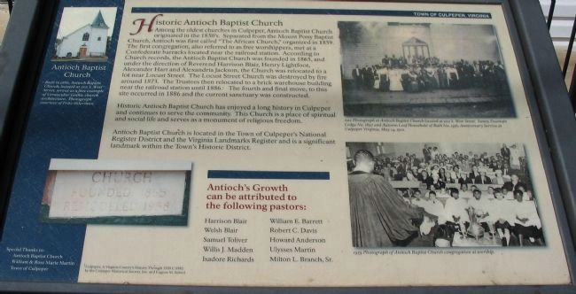 Historic Antioch Baptist Church Marker image. Click for full size.