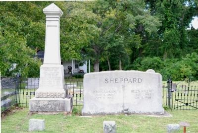 John Calhoun Sheppard, Jr. Monument (left)<br>John Calhoun Sheppard, Sr. Tombstone (right) image. Click for full size.
