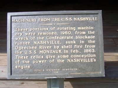 Machinery From The C.S.S. Nashville Marker image. Click for full size.