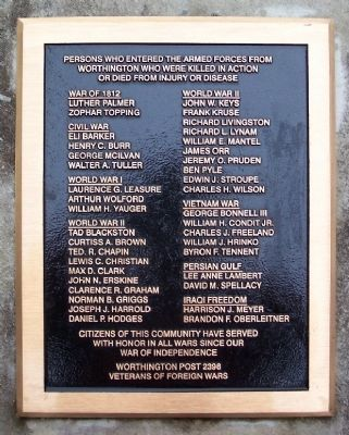 Worthington Casualties Marker image. Click for full size.