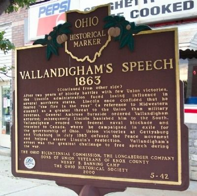 Vallandigham's Speech, 1863 Marker (side B) image. Click for full size.