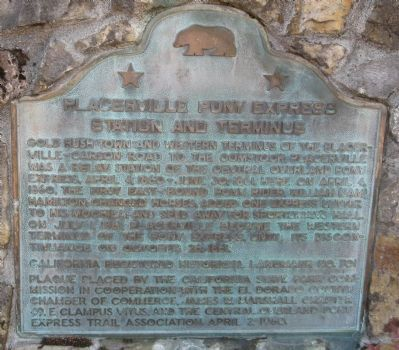 Placerville Pony Express Marker image. Click for full size.