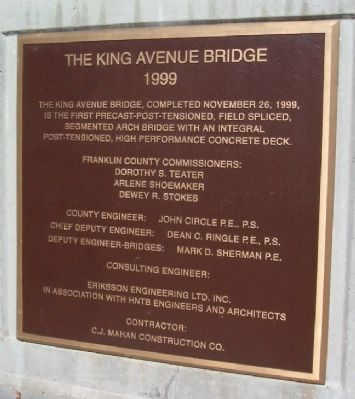 The King Avenue Bridge 1999 Marker image. Click for full size.