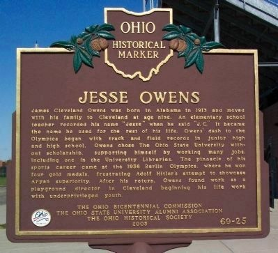 Jesse Owens Marker </b>(front) image. Click for full size.