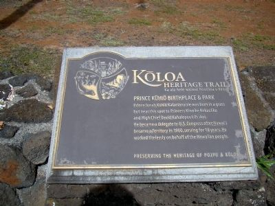 Prince Kūhiō Birthplace & Park Marker image. Click for full size.