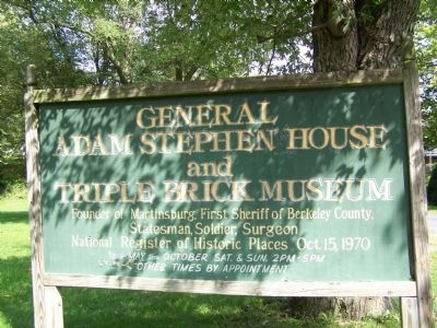 General Adam Stephen House and Triple Brick Museum Marker image. Click for full size.