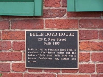 Belle Boyd House Plaque image. Click for full size.