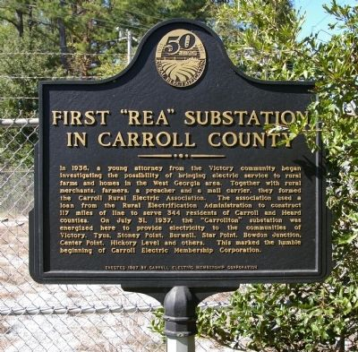 "First ""REA"" Substation in Carroll County Marker image. Click for full size."