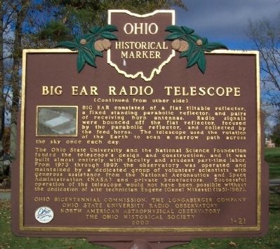 Big Ear Radio Telescope Marker (side B) image. Click for full size.